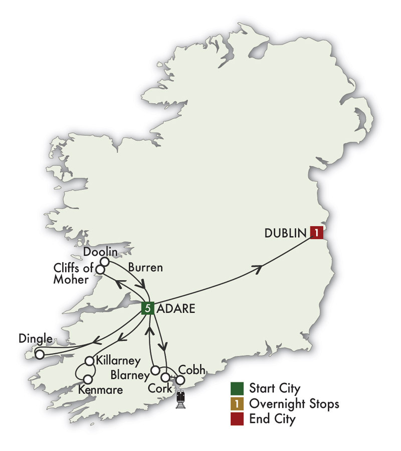 CIE Tours Tour Map  - 2021 - 7 Day Ireland South Daytripper