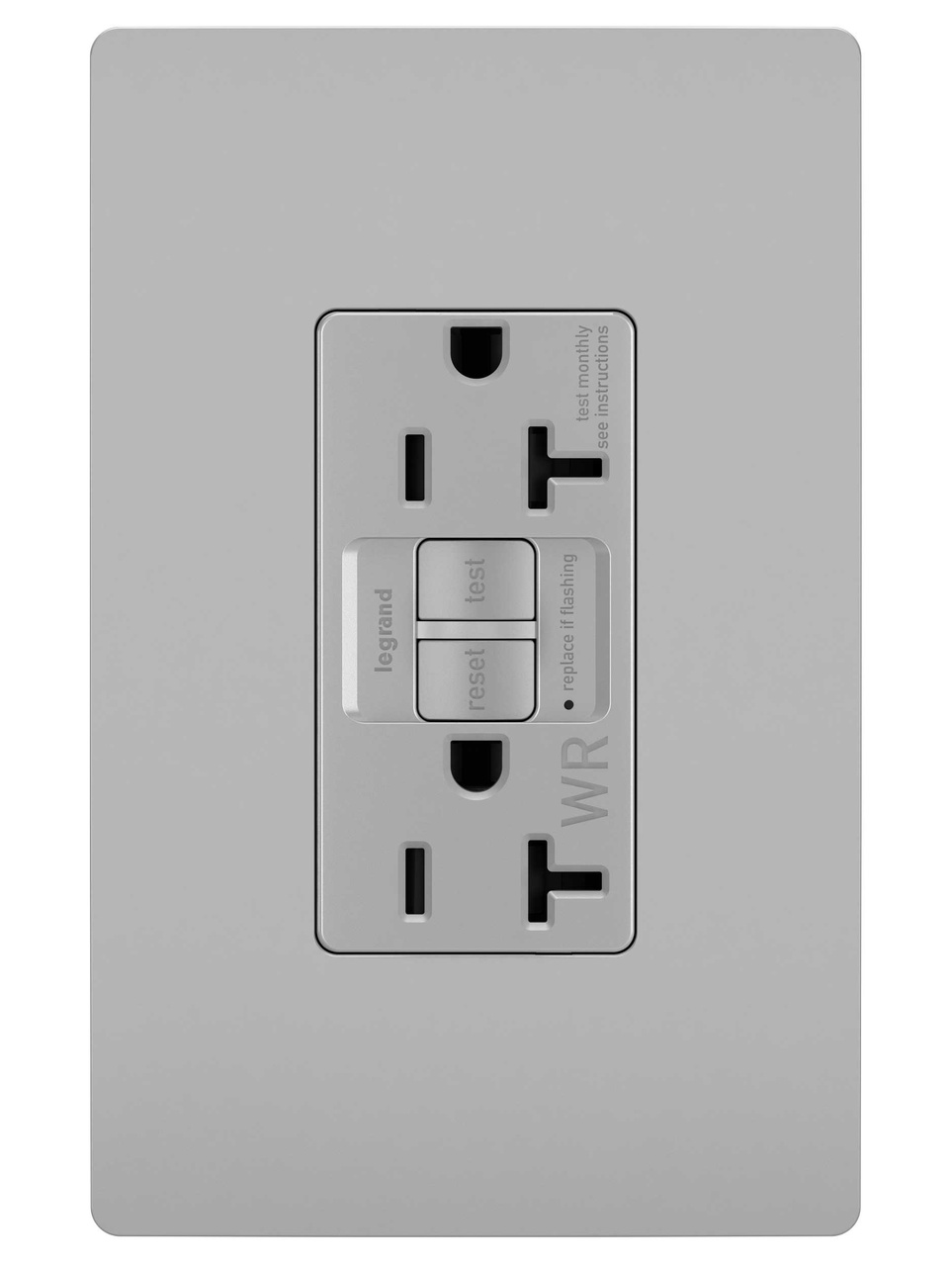 Spec-Grade Weather-Resistant 20A Self-Test Duplex GFCI, Gray
