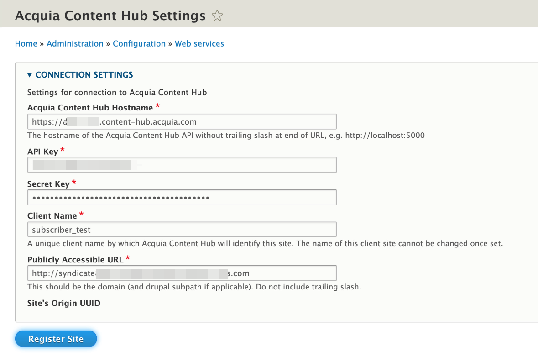 Content Hub subscriber module settings