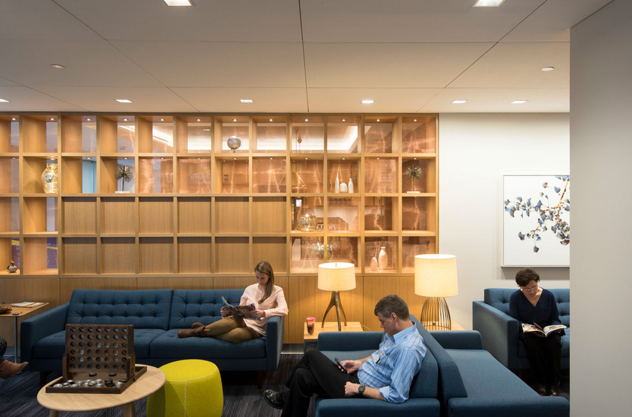 Seating area in modern library space