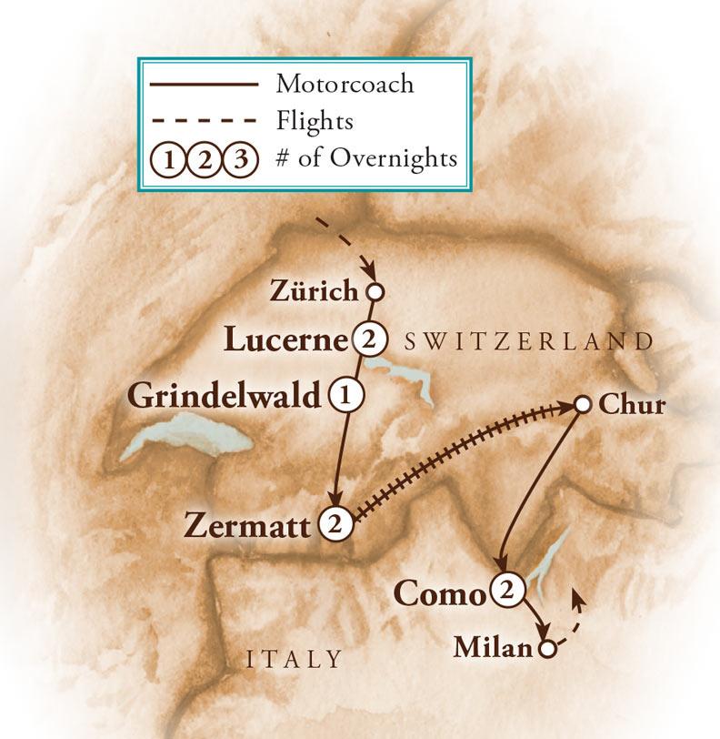 Tour Map for Swiss Alps, Glacier Express & Lake Como