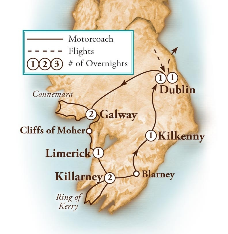 Tour Map for Enchanting Ireland