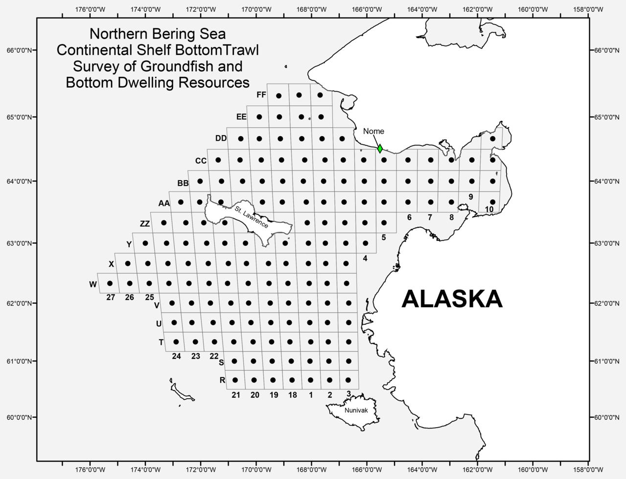 Northern Bering Sea Continental Shelf Bottom Trawl Survey of Groundfish and Bottom Dwelling Resources (map plot)