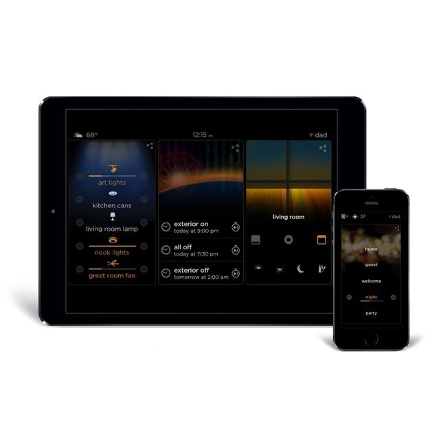 Home lighting controls on tablet and phone