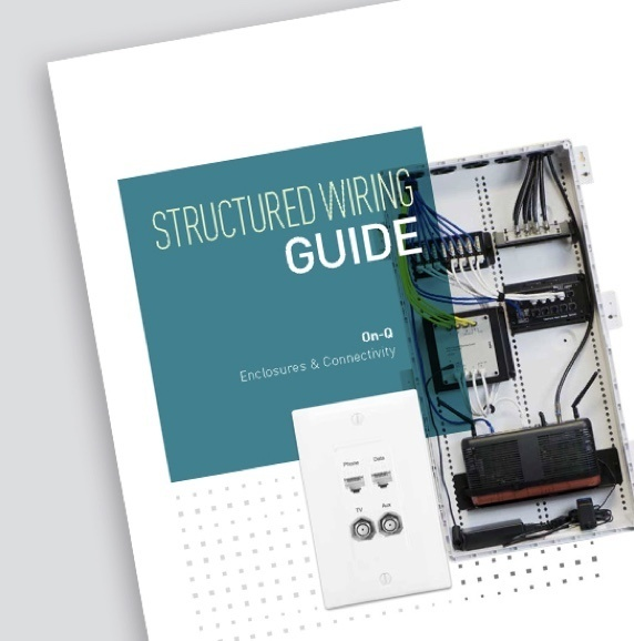Cover of the Legrand Structured Wiring guide showing exposed electrical box on the cover