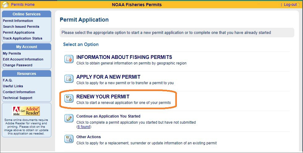 NOAA Fisheries renew permit application screenshot.