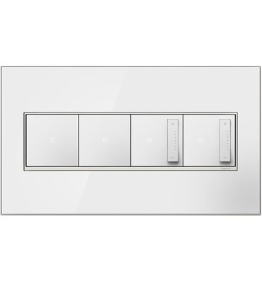 adorne 4-Gang Mirror White Wall Plate