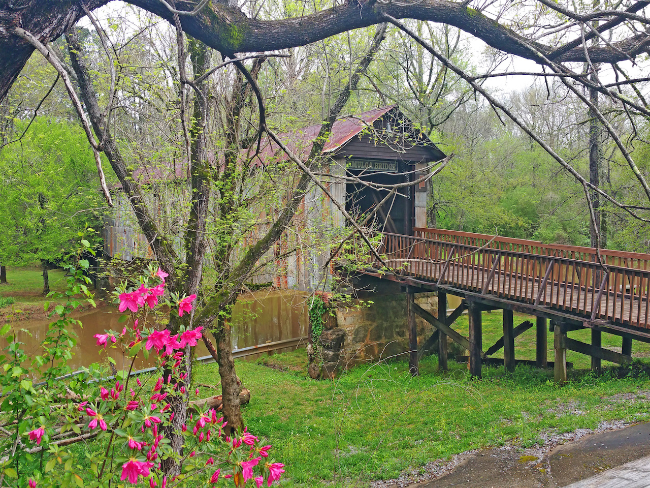 The Kymulga Bridge is at Kymulga Grist Mill & Park in Childersburg, Alabama.