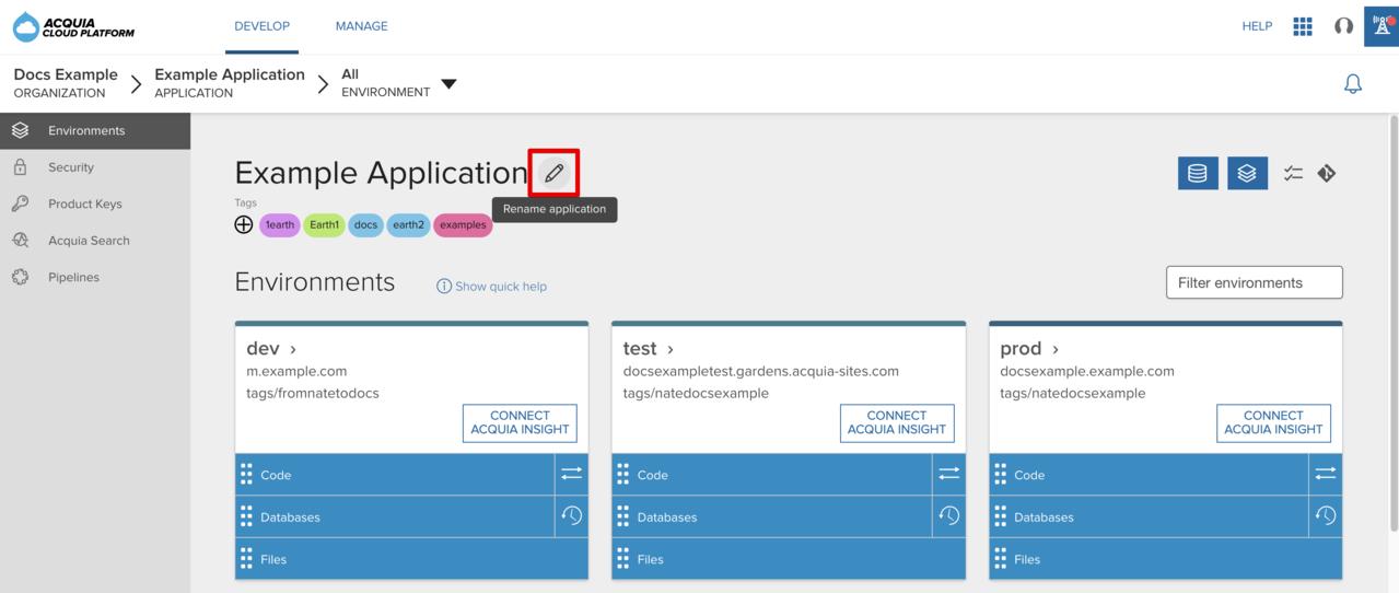 Renaming an application