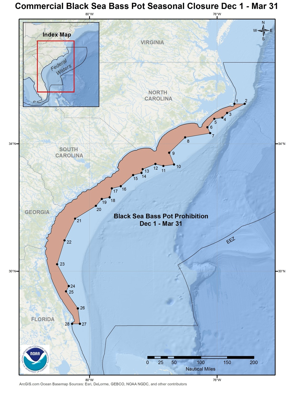 This is a map of the commercial black sea bass pot closure Dec 1-Mar 31 in the South Atlantic Region.