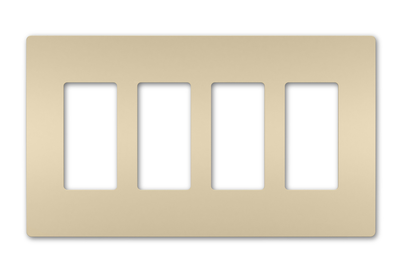 Four-Gang Screwless Wall Plate, Ivory