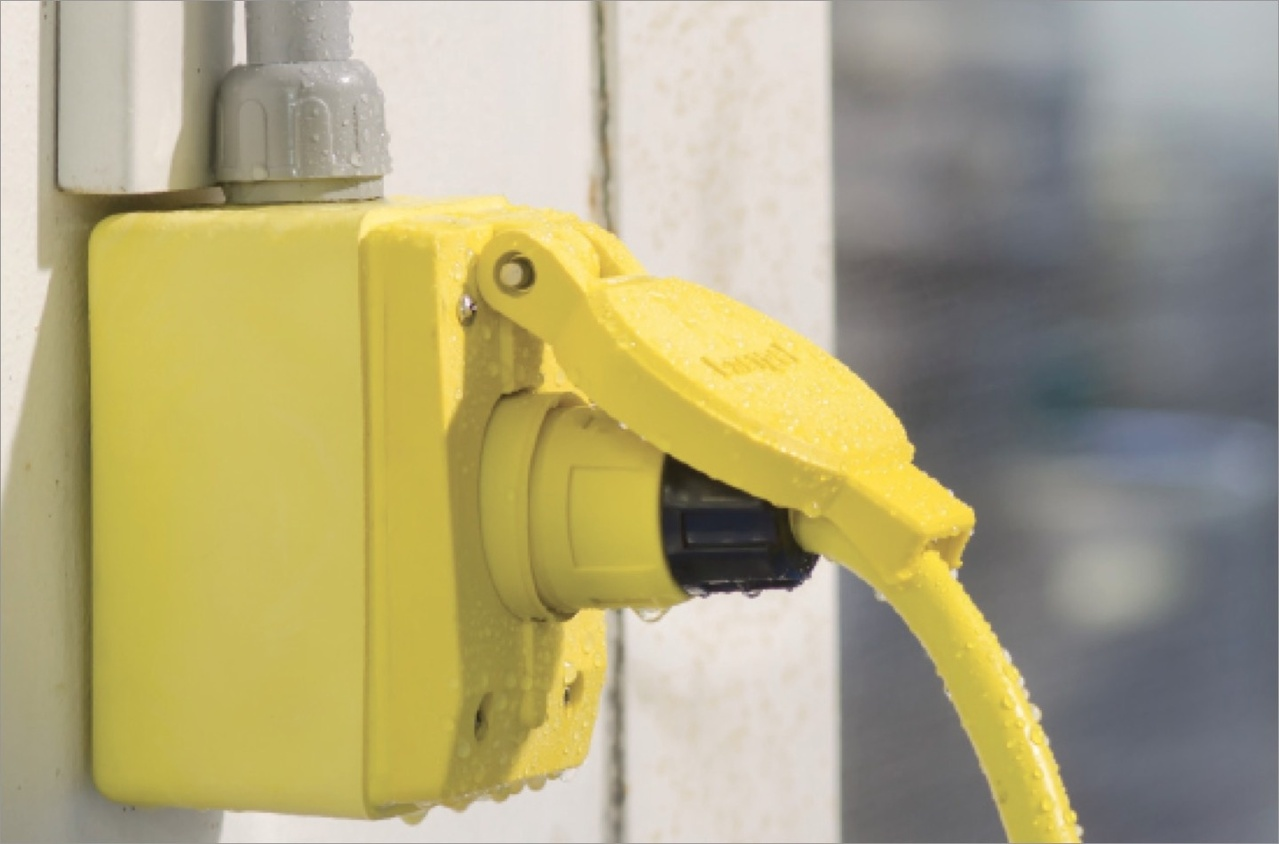 Yellow commercial plug for water and waste plant