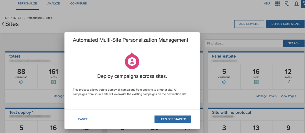 The Automated multisite personalization management dialog box prompts you to deploy campaigns across websites.