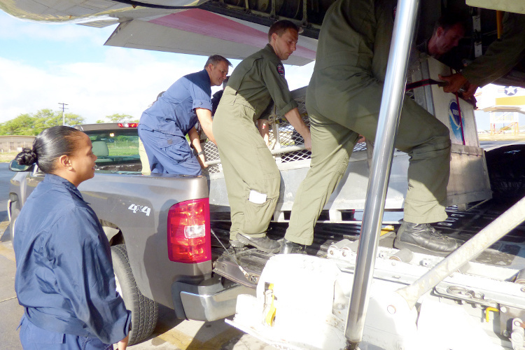 U.S. Coast Guard and NOAA team transporting monk seal in a plane