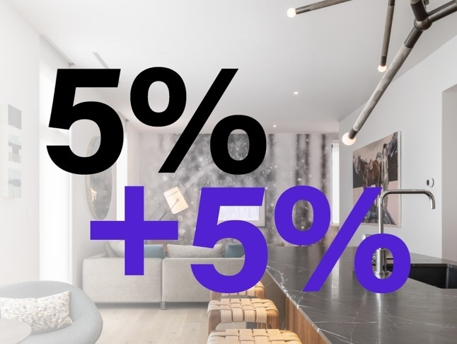 Living room area is white gradient and 5% + 5% in black and purple font color
