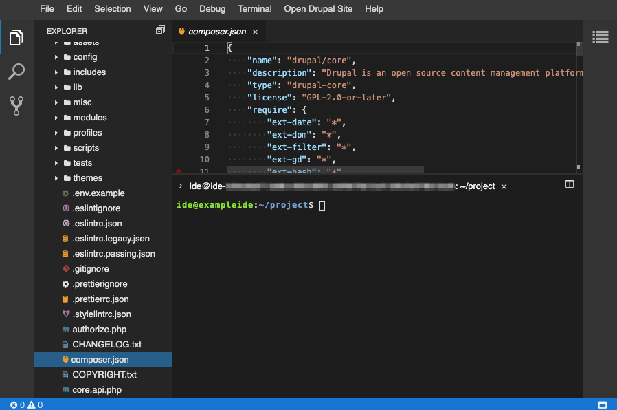 Screenshot of Cloud IDE displaying the Explorer view