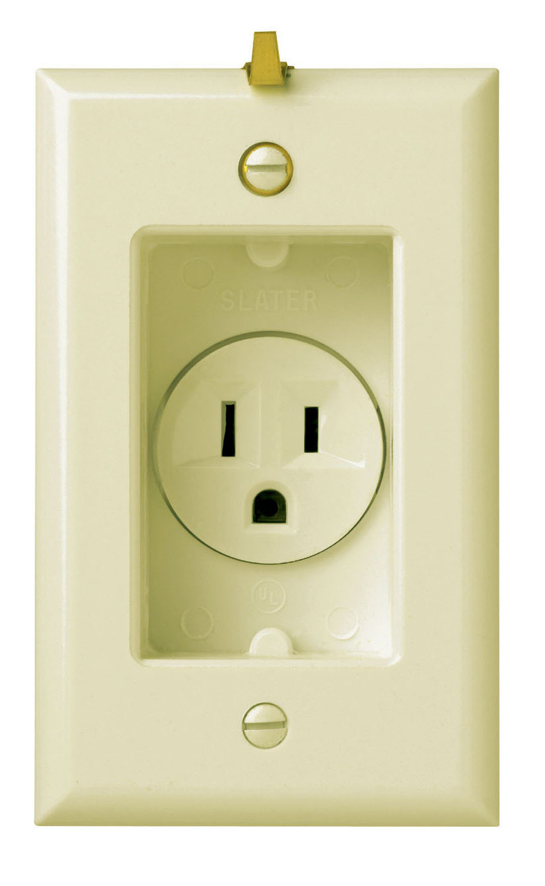 Clock Hanger Receptacles, Recessed with Smooth Wall Plate, 15A, 125V, Ivory