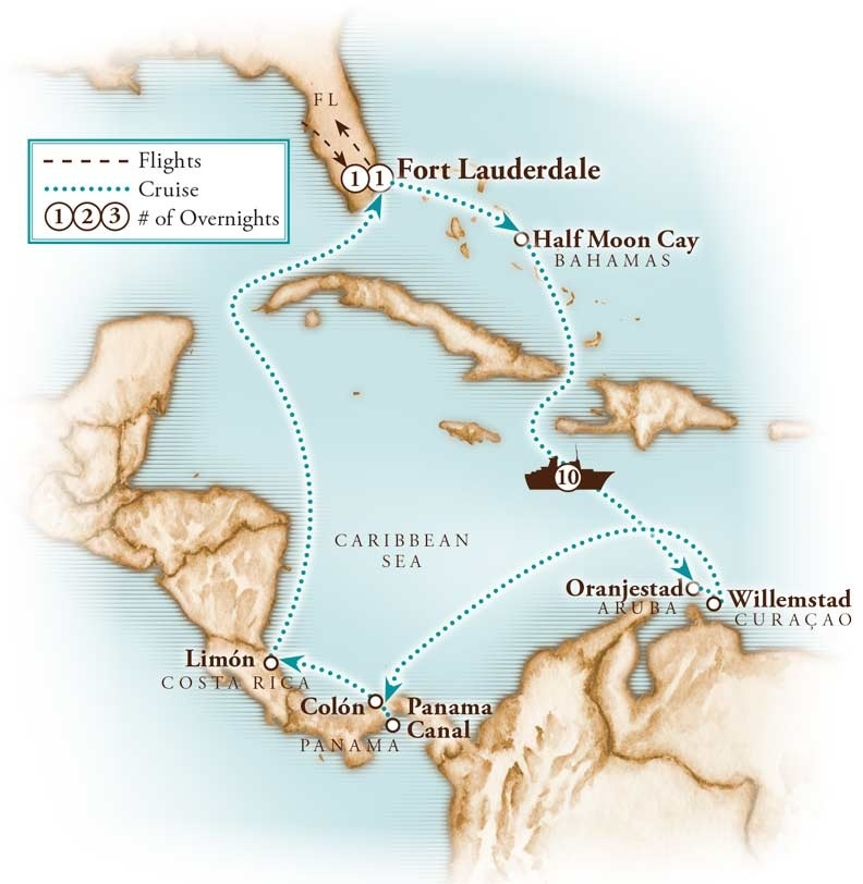 Tour Map for Panama Canal Cruise with Holland America