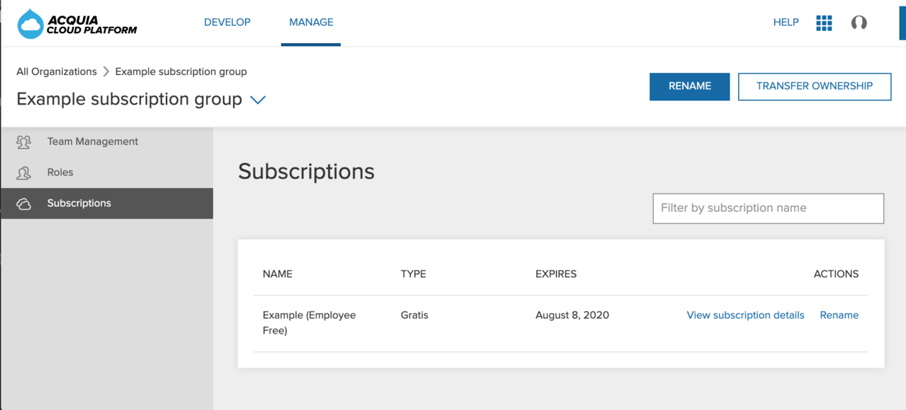 Displays a list of subscriptions owned by an organization.