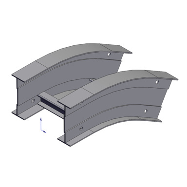 Cable tray 3D rendering of metallic vertical fitting elbow outside 30 degree section