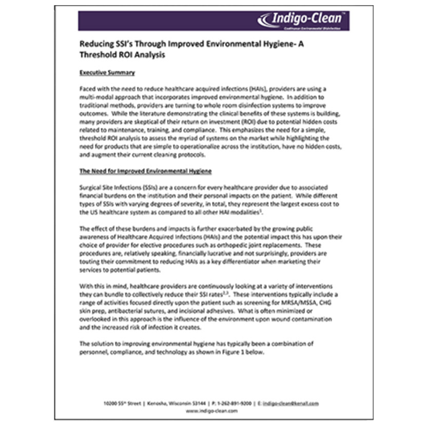 Reducing SSI Through Improved Environmental Hygiene White Paper