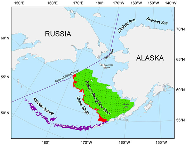 Proposed survey areas for the acoustic-trawl survey of the eastern Bering Sea shelf and Cape Navarin area of Russia, Upper Slope, and the Aleutian Islands.