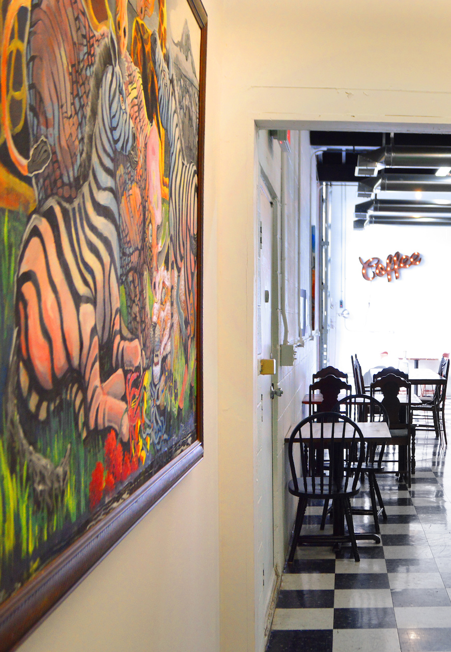 The decor at Bean is light-filled, airy and welcoming. Walls are dotted with original art and vintage finds.