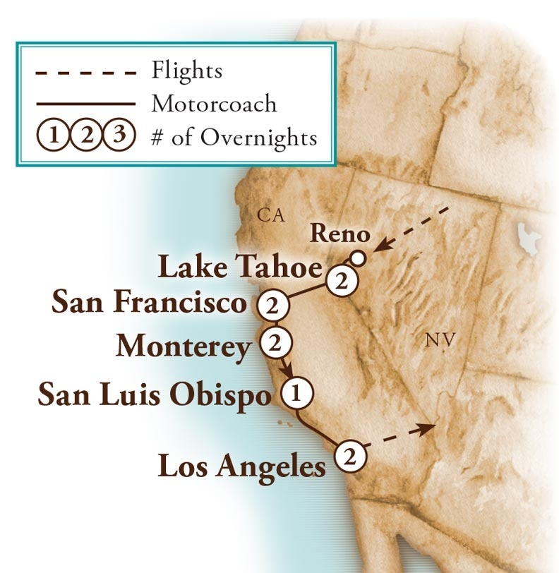 Tour Map for Great California Adventure