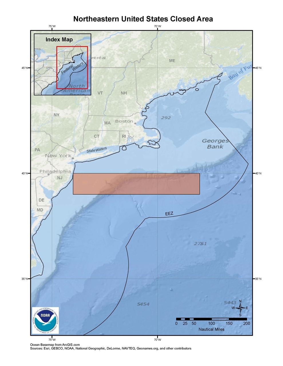 This is a map of the Northeastern United States pelagic longline closed area in the South Atlantic Region.
