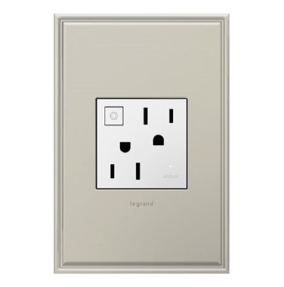 White adorne outlet and wall plate