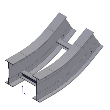 Cable tray 3D rendering of metallic vertical fitting elbow inside 30 degree section