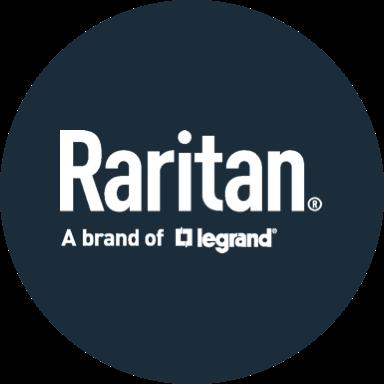 Dark blue circle with white Raritan logo