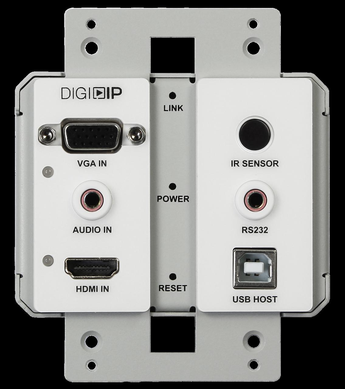 IPEX5001-WP-W - DigitalinxIP 5000 Series AV Over IP HDMI / VGA w/Audio auto Switching 4K Wall Plate Encoder