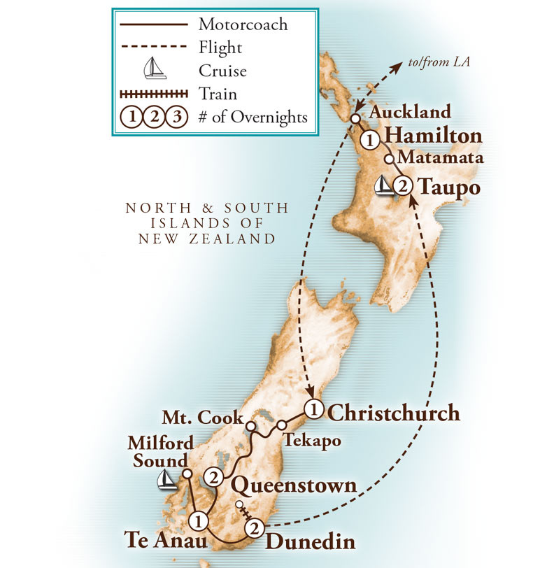 Tour Map for Spectacular New Zealand