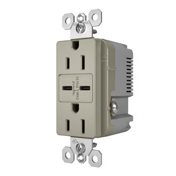 6.0A Ultra-Fast Type C/C USB Chargers with Duplex 15A Tamper-Resistant Outlet, Nickel
