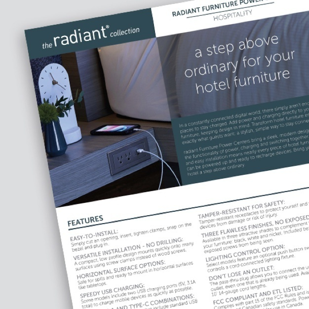 "screenshot of radiant hospitality sell sheet with the text ""a step above ordinary for your hotel furniture"" and image of outlet built into gray counter with smartphone charging"