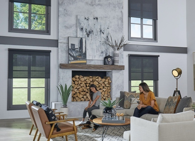Two women and a dog sitting in a living room area with four windows and a fireplace stocked with wood