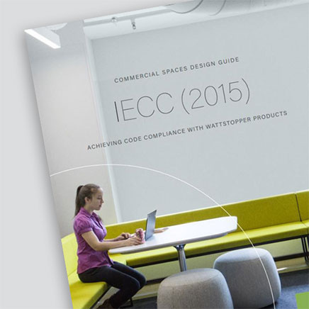 Front page of the IECC 2015 Design Guide from Wattstopper over a grey background