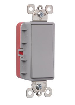PlugTail Single Pole 20 Amp Decorator Switch, PT2621GRY