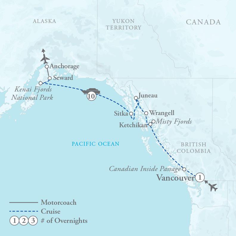 Tour Map for Alaskan Splendors Cruise