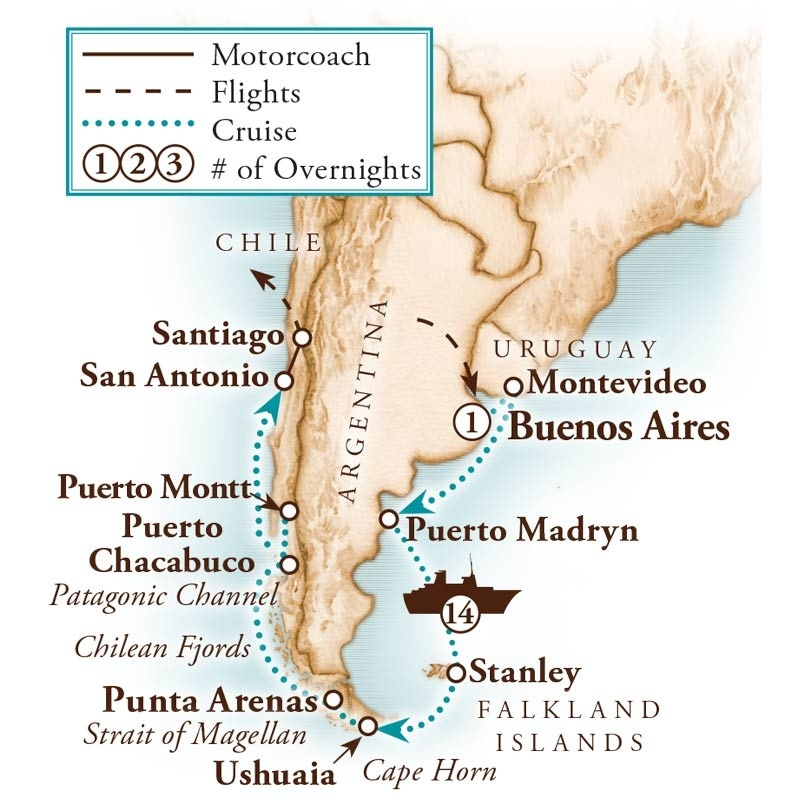 Tour Map for Chilean Fjords & Strait of Magellan