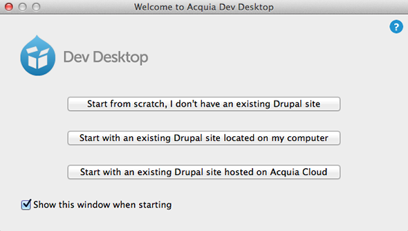 Starting Acquia Dev Desktop
