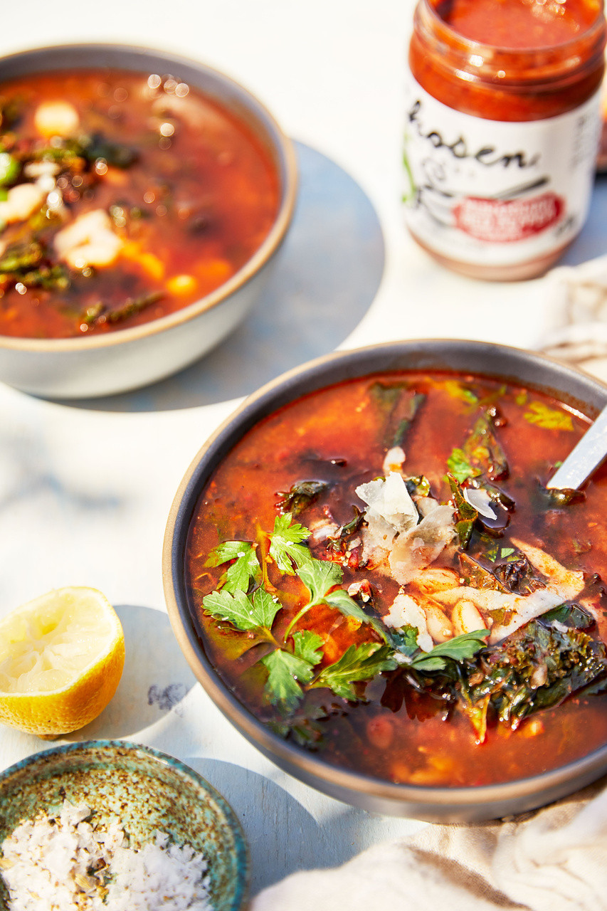 Muhammara White Bean and Kale Soup