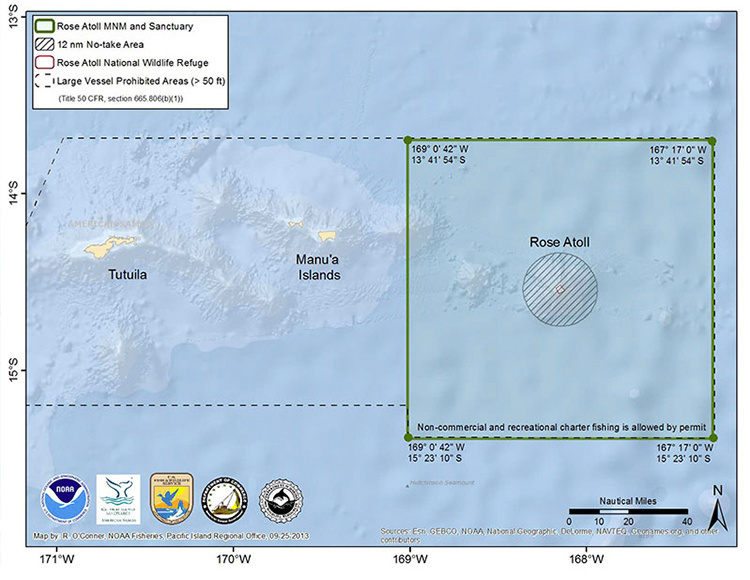 Map of Rose Atoll Marine National Monument