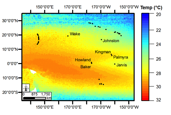 Map of sea surface temperatures in the Pacific Remote Island Areas.