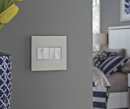 radiant dimmers on a gray wall