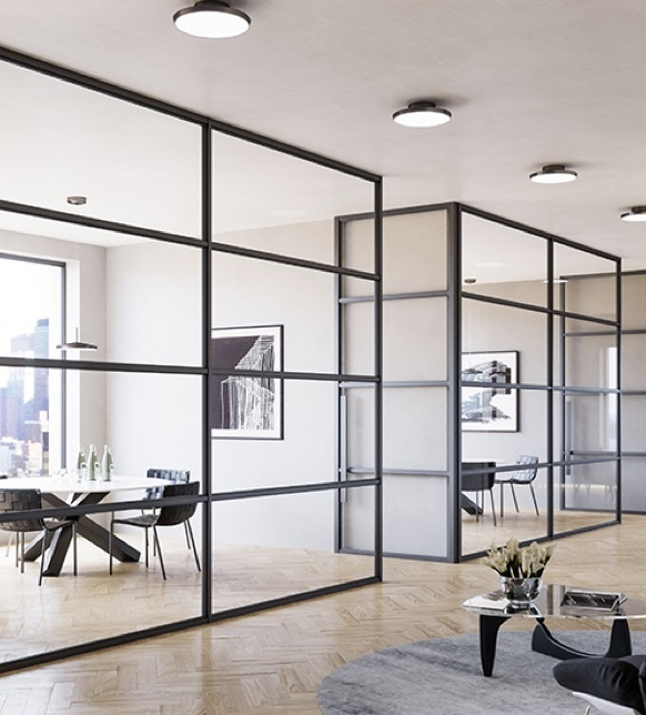 Modern office space with glass walls