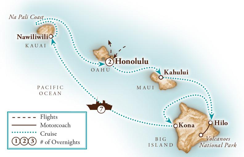 Tour Map for Hawaiian Islands Land & Cruise