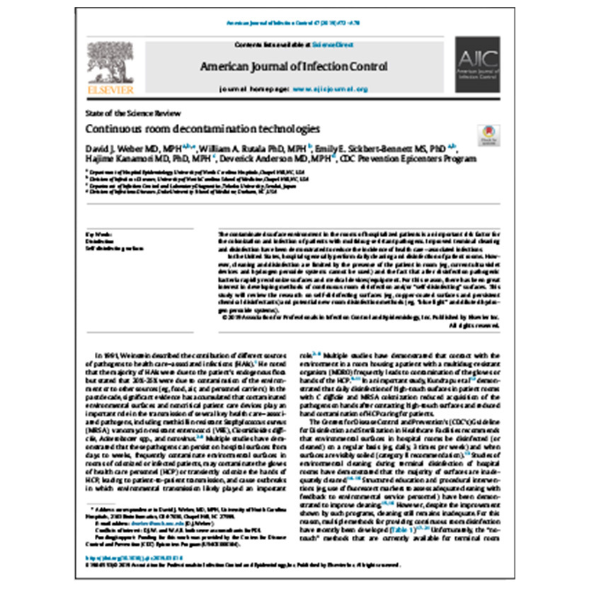 Continuous Room Decontamination Technologies Peer Reviewed Article