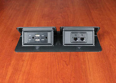 deQuorum Flip-Up Table Box 2-Gang 15A recep 3.1A USB, black finish-open view, DQFP15UBK-2A